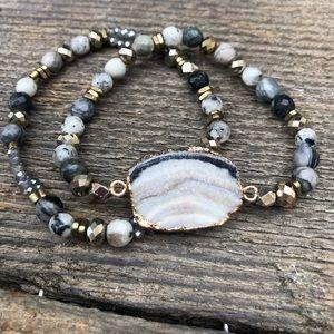 Jewelry - Druzy Crystal Beaded Stretch Bracelet Stack